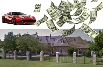 Law of Attraction, mansion, Ferrari, money, riches, wealth, greed, avarice, ego