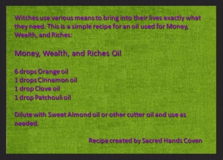 Money, Wealth, and Riches Oil