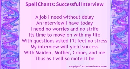 spell, spell chant, job interview spell