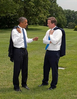 """Barack Obama and David Cameron on White House South Lawn"" by The White House photographer Pete Souza from Washington, DC - P072010PS-0555 (direct link)Uploaded by Matthewedwards. Licensed under Public Domain via Wikimedia Commons"