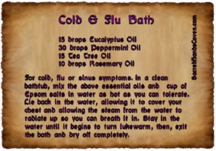 Sacred Hands Coven Cold and Flu Bath Recipes