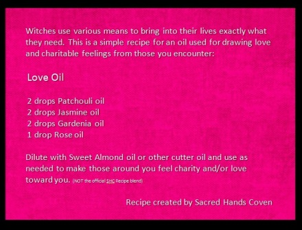 Love oil recipe, love oil, charity